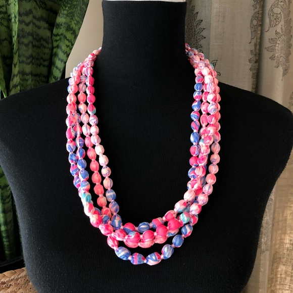 NWT Lilly Pulitzer Long Fabric Necklace New Pink